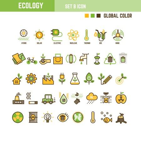 Ecology infographic element outline style set of icon Ilustrace