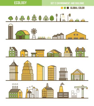 Ecología elemento infográfico esquema de estilo conjunto de ambiente y edificio