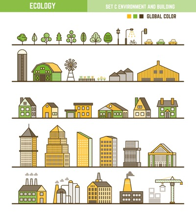 Ecology infographic element outline style set of environment and building Illustration