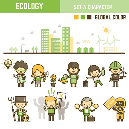 Ecology infographic element outline style set of various character Illustration