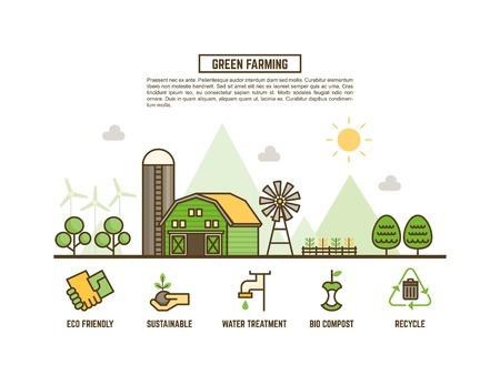 green farming concept for ecology web banner Illustration