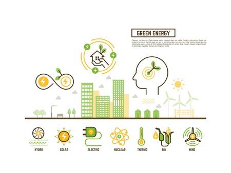 turbina: concepto de energía verde y renovable para la ecología bandera de la tela