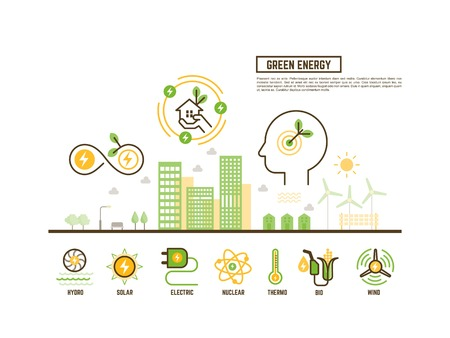 thermal power plant: green and renewable energy concept for ecology web banner Illustration