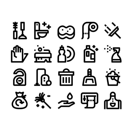 Minimal style icons of cleaning Illustration