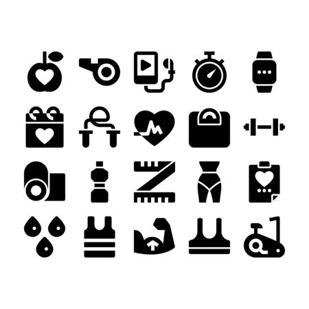 Minimal style icons of fitness and exercise