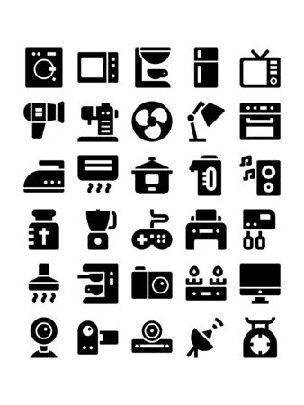 Minimal style icons of home appliances Illustration