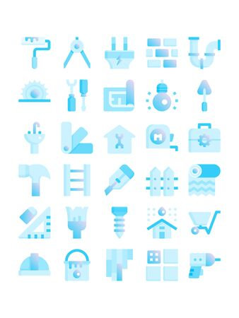 Minimal style icons of home repair and improvement