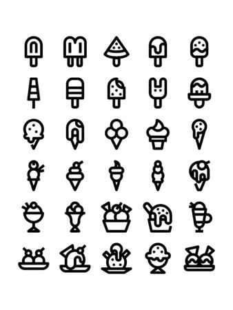 Minimal style icons of ice cream Ilustração