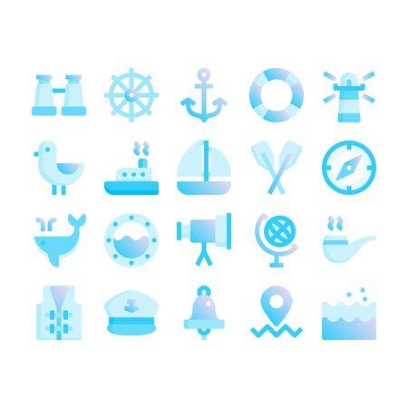 Minimal style icons of marine and nautical