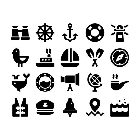 Minimal style icons of marine and nautical