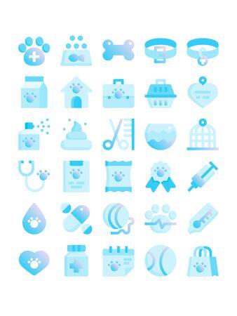 Minimal blue gradient flat style icons of veterinary