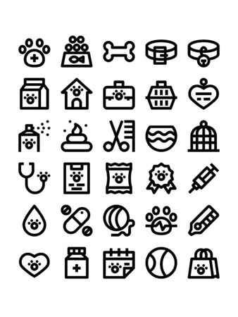 Minimal black outline style icons of veterinary