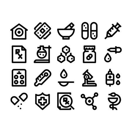 Minimal black outline style icons of pharmacy