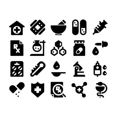 Minimal black glyph style icons of pharmacy Illustration