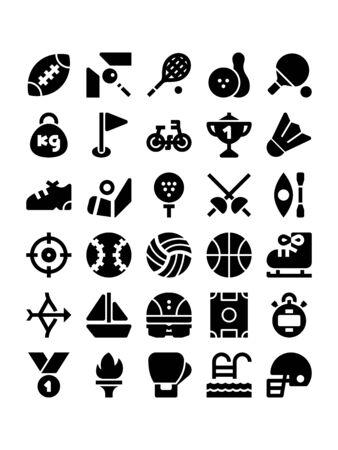 Minimal black glyph style icons of sport Stock Illustratie