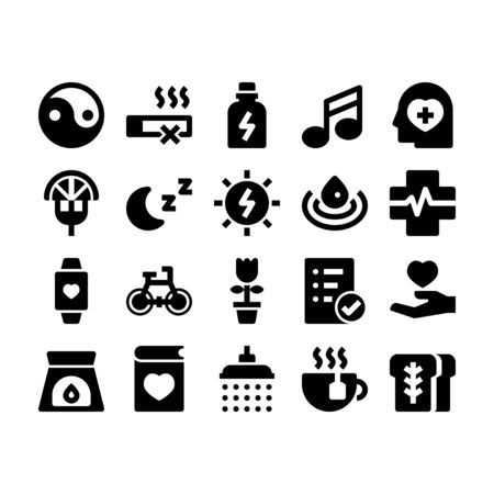 Minimal black glyph style icons of wellness