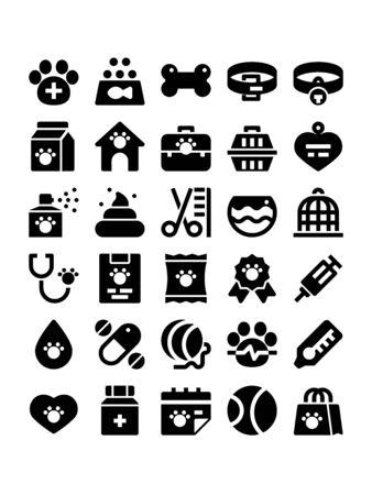 Minimal black glyph style icons of veterinary