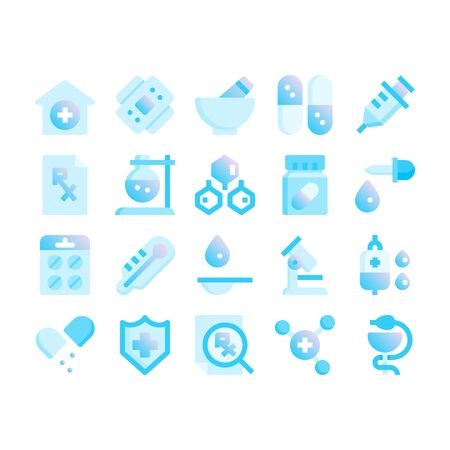 Minimal blue gradient flat style icons of pharmacy