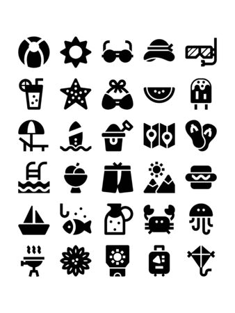 Minimal black glyph style icons of summer
