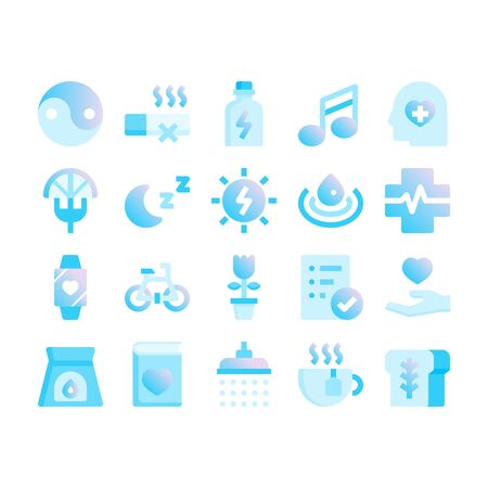 Minimal blue gradient flat style icons of wellness