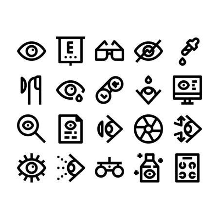 Minimal black outline style icons of optometry