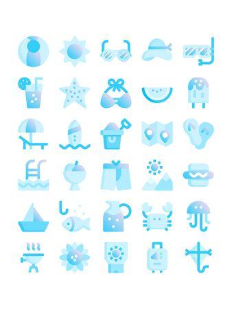 Minimal bllue gradient flat stlye icons of summer