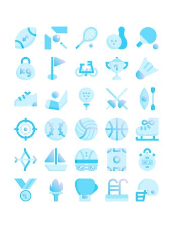 Minimal blue gradient flat style icons of sport