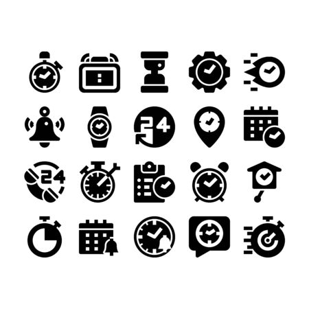 Minimal black glyph style icons of time