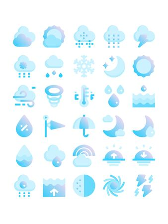 Minimal blue gradient flat style icons of weather