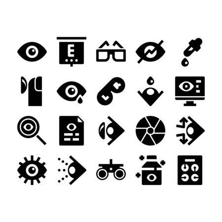 Minimal black glyph style icons of optometry