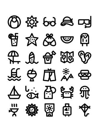 Minimal black outline style icons of summer Illustration