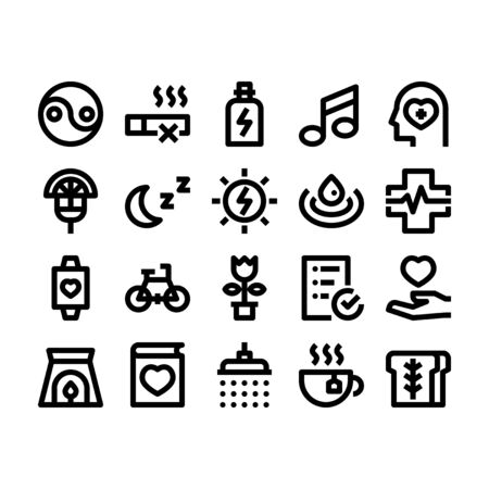 Minimal black outline style icons of wellness