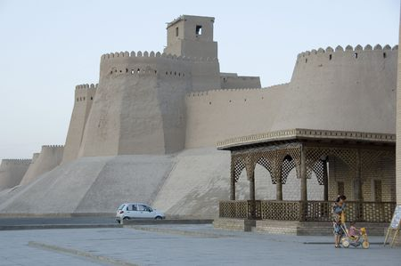 uzbekistan: Walls of Khiva, Uzbekistan. Stock Photo