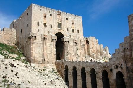 the citadel: Ingresso alla cittadella di Aleppo, Siria