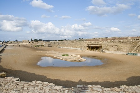 Roman hippodrome in Caesarea Maritima, Israel  photo