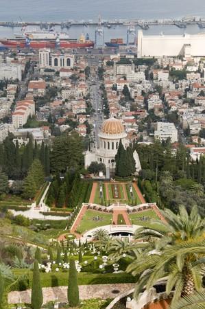 Overview of Haifa with the Bahai Shrine and Gardens photo