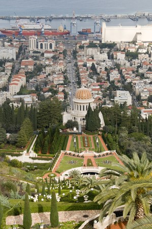 bahaullah: Overview of Haifa with the Bahai Shrine and Gardens Stock Photo