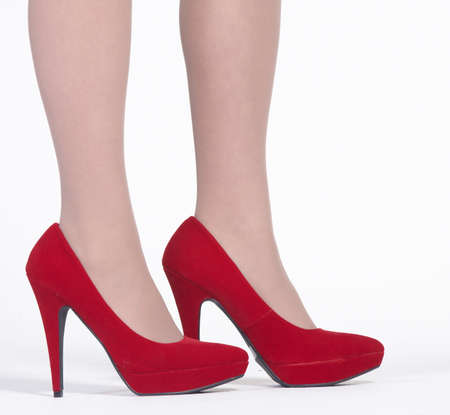 Red High Heel Velvet Shoes photo