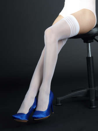stockings heels: White Stockings and Blue High Heels