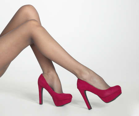 pantyhose: Woman s Legs in Sheer Pantyhose and High Heels Stock Photo
