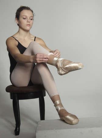 pre adolescent girl: Teen Ballerina in leotard and tights