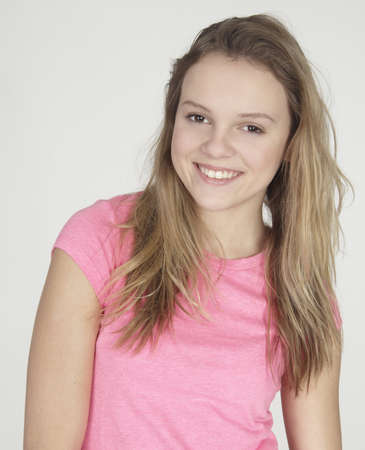 pre teens: Portrait Head Shot of Blond Teen Girl Stock Photo