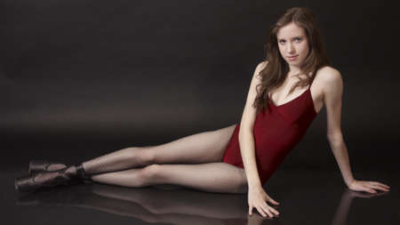 fishnets: Ballet Dancer Posing With Fishnet Tights Stock Photo
