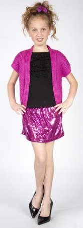 Elegant Preteen Girl in Skirt and Heels