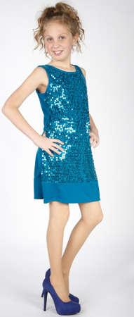 Elegant Preteen Girl in Dress and Heels 스톡 콘텐츠