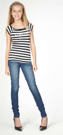 Slim Blond Teen in Jeans and Heels