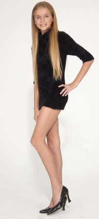 Long Legged Slim Blond Teen in a Short Dress and Heels