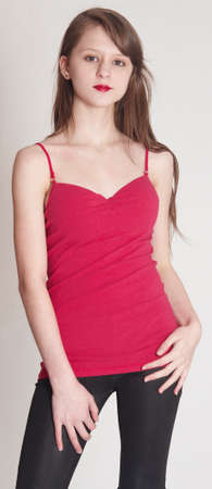 Teen Model in a Tight Red Top