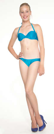 swimming shoes: Teen Girl in a Blue Bikini