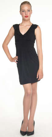 Elegant Teen Girl in Black Dress and Heels